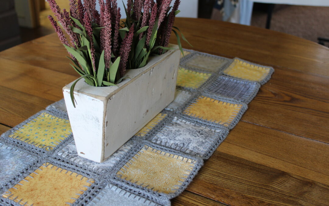 Combine Quilting and Crochet for a Fusion Tablerunner